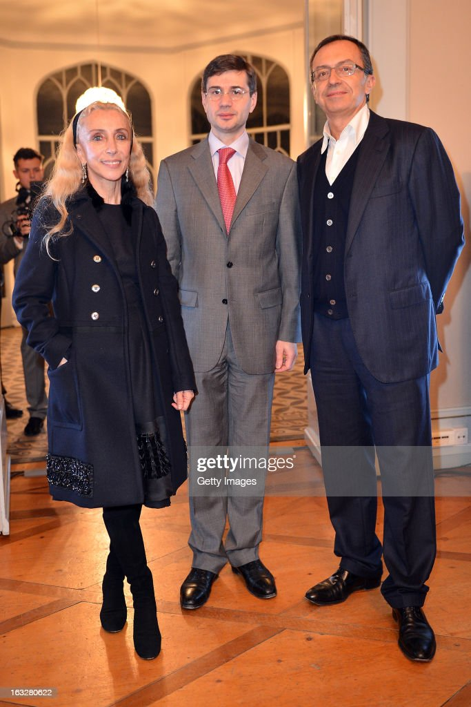 Franca Sozzani, Vogue Italia Editor in Chief, Marco Freschi, Citroen Italy Head Press Office and Public Relations and Massimo Borio attend the charity auctioning of the first 'Citroen DS3 Cabrio L'Uomo Vogue' hosted by L'Uomo Vogue and Citroen at the Permanent Mission of France to the United Nations Office on March 6, 2013 in Geneva, Switzerland.
