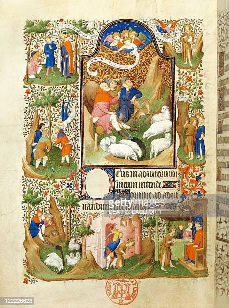 France 15th century Illuminated manuscript 'Book of Hours' Announcement to the shepherds 14101415 Manuscript 469 folio 56