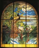 France 19th century Art Nouveau Henri Carot The Peacocks stained glass window 1895 Cartoon by Paul Albert Besnard