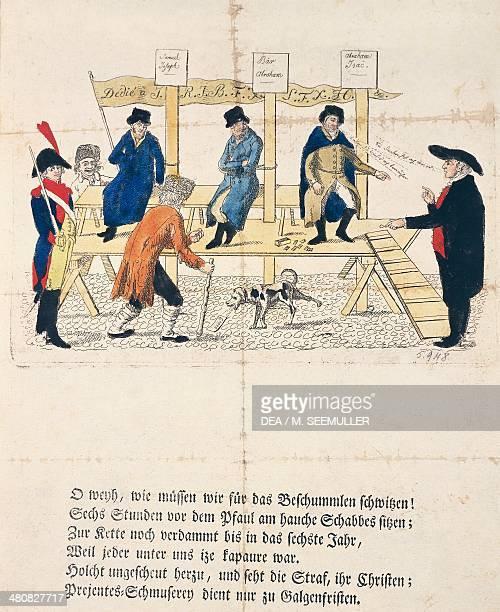France 19th century Jewish people pilloried Caricature Engraving Strasbourg 1800 Strasbourg Cabinet Des Éstampes Et Des Dessins