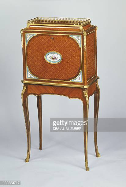 France 19th century Napoleon III writing desk with inlayings of rosewood and little Sèvres porcelain plaques by L'escalier de Cristal