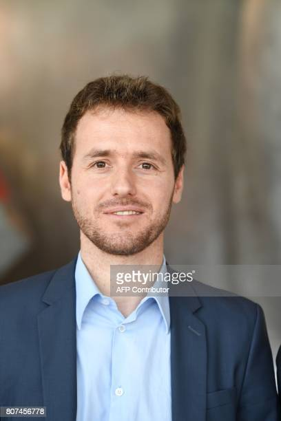 France 2 TV journalist Matthieu Renier winner of the Albert Londres prize in the audiovisual category poses on July 4 2017 in Paris The Albert...