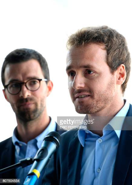France 2 TV journalists and winners of the Albert Londres prize in the audiovisual category Matthieu Renier looks at Tristan Waleckx speaking during...