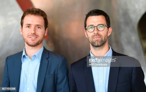 France 2 TV journalists Matthieu Renier and Tristan Waleckx winners of the Albert Londres prize in the audiovisual category pose on July 4 2017 in...