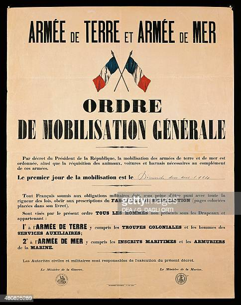 France 20th century First World War Armee de Terre et Armee de Mer Ordre de Mobilisation Generale Poster ordering general mobilization Sunday August...