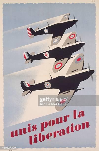France 20th century Second World War Unis pour la liberation Propaganda posters for the liberation Paris Musée De L'Armée