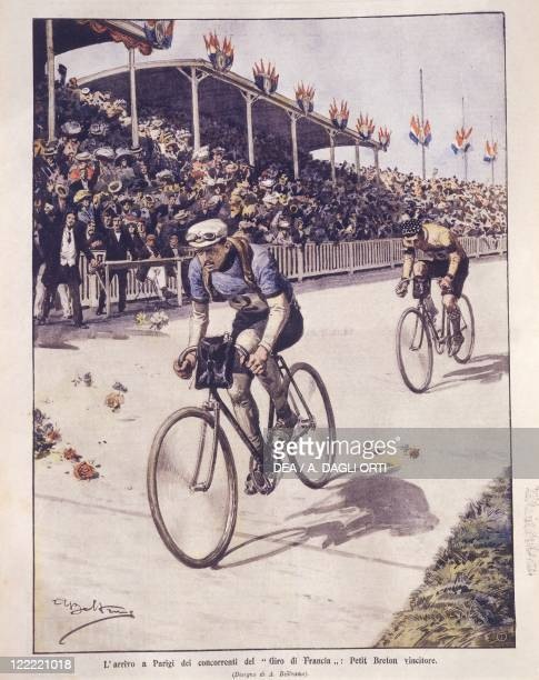 France 20th century Tour de France riders arrival in Paris with PetitBreton winner Cover illustration from La Domenica del Corriere Sunday supplement...
