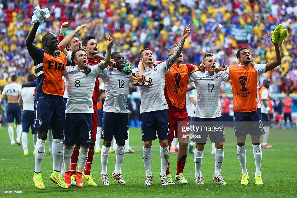 France acknowledge the fans after defeating Nigeria 20 during the 2014 FIFA World Cup Brazil Round of 16 match between France and Nigeria at Estadio...