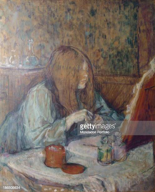 France Albi ToulouseLautrec Museum Whole artwork view Indoors portrait of Madame Poupoule with a long loose red hair and wearing a comfortable...