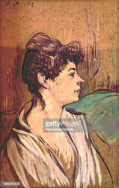 France Albi ToulouseLautrec Museum Whole artwork view Profile portrait of a young woman with a white shirt open at the neck and her black hair...