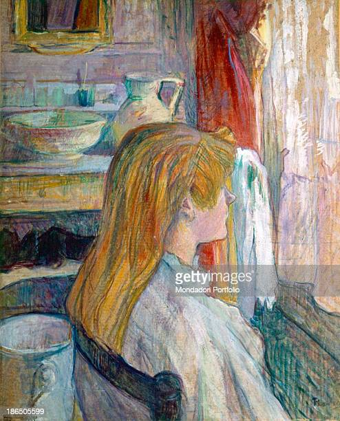 France Albi ToulouseLautrec Museum Whole artwork view Profile portrait of young woman with a reddishblond long hair sitting on a chair looking out of...