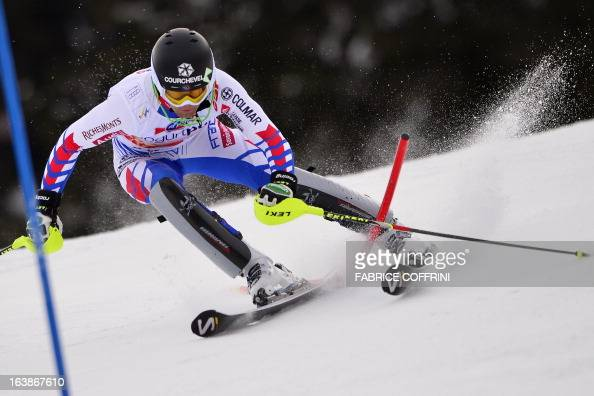 France Alexis Pinturault misses a gate during the Men Slalom race at the Alpine ski World Cup finals on March 17 2013 in Lenzerheide AFP PHOTO /...
