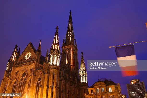 France, Alsace (Haut Rhin), Mulhouse, Place de la Reunion, evening