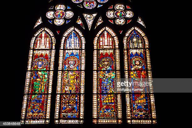 France Alsace Strasbourg Cathedral Of Notre Dame Interior Stainedglass Windows