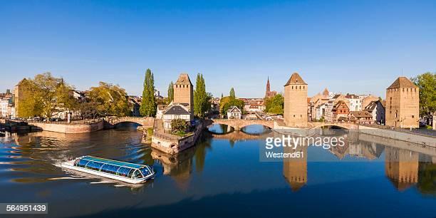 France, Alsace, Strasbourg, La Petite France, Pont Couverts and tourboat