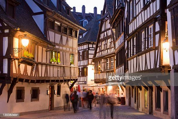 France, Alsace, Strasbourg, Petite-France, View of restaurants, taverns and framed houses