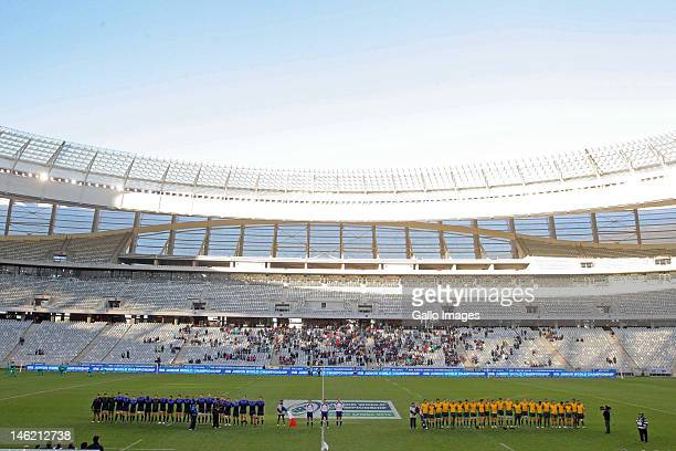 France and Australia sing the national anthem during the IRB U/20 Junior Championship match between France and Australia at the Cape Town Stadium on...