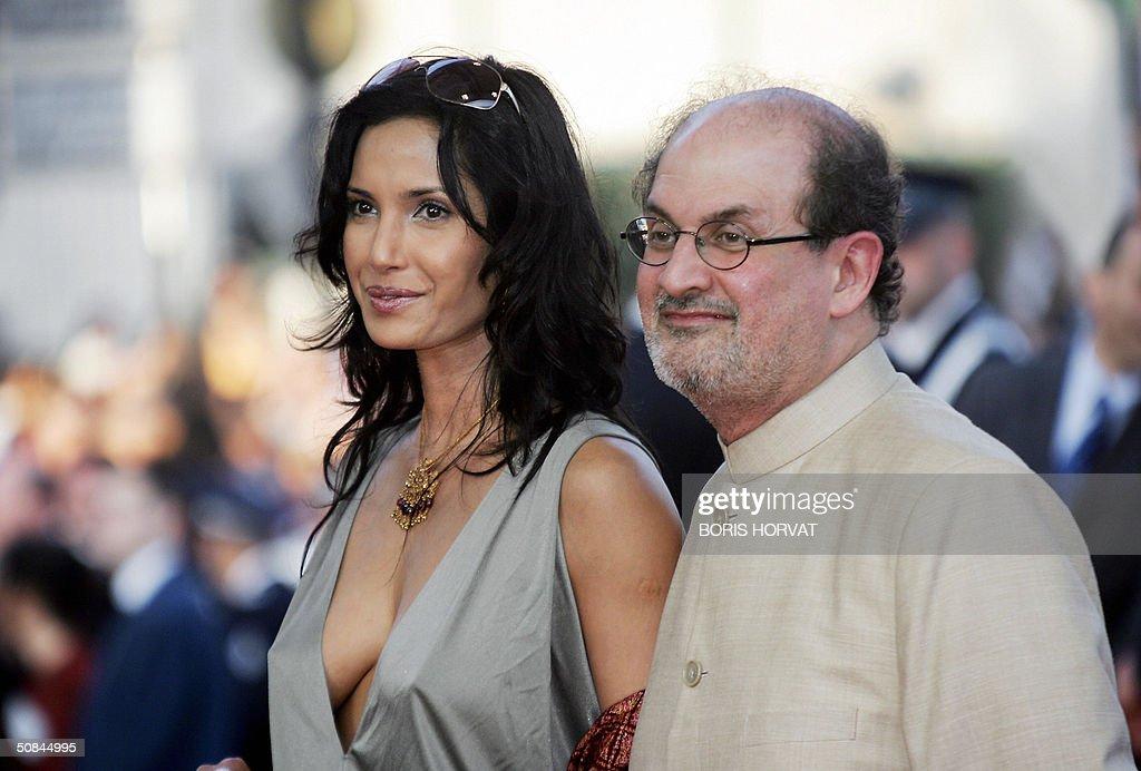 Anglo-Indian novelist Salman Rushdie and his wife Padma ...