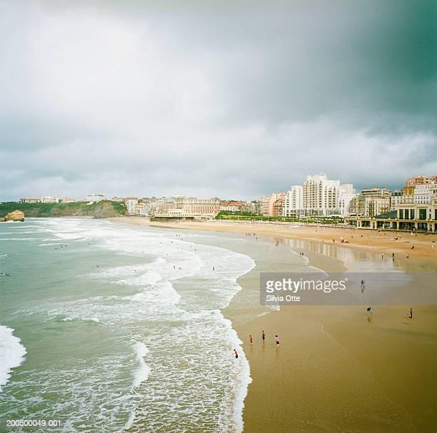 France, Aquitaine, Biarritz, beach and skyline against overcast sky