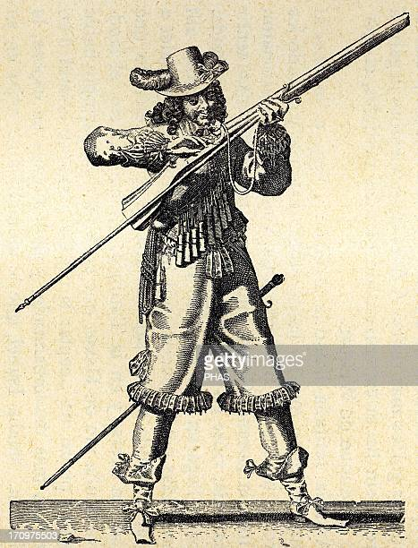 France Army of the 18th century Musketeer of the Infantry of Louis XIV blowing the fuse of the musket Engraving