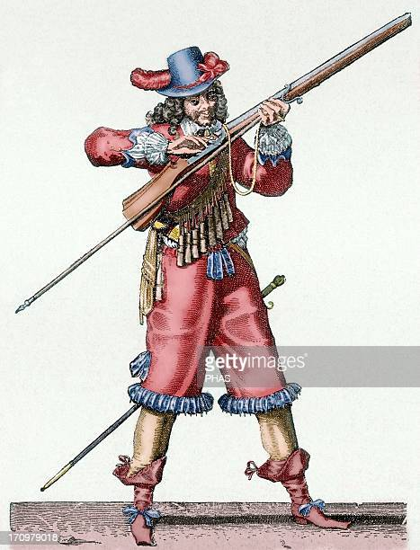 France Army of the 18th century Musketeer of the Infantry of Louis XIV blowing the fuse of the musket Colored engraving