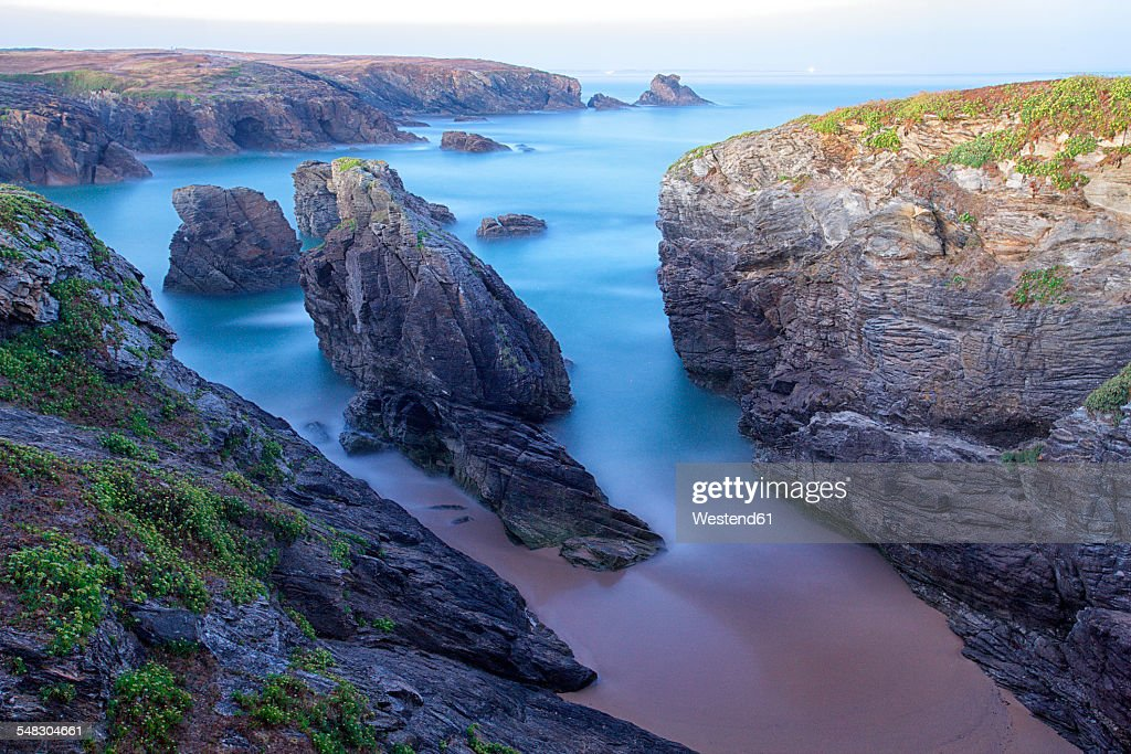 France, Brittany, Cote Sauvage at Qiberon peninsula in evening light