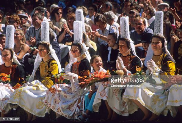 France, Brittany, Finistere, Pont-l'Abbe, Fete des Brodeuses, Young Bigouden maids