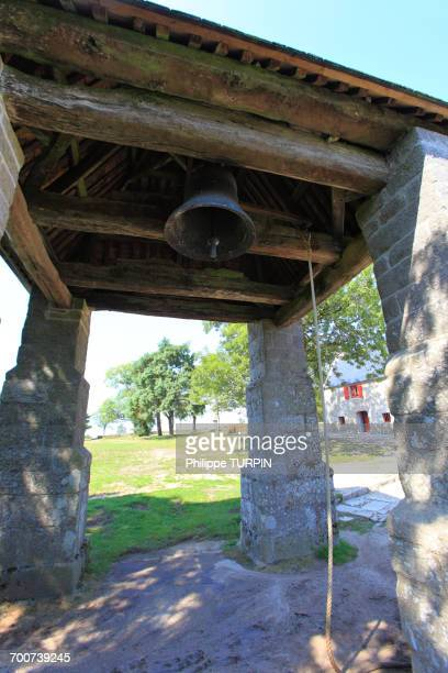 France, Brittany, Morbihan. Le Faouet or Ar Faoued. Sainte Barbe du Faouet Chapel. Bell tower.