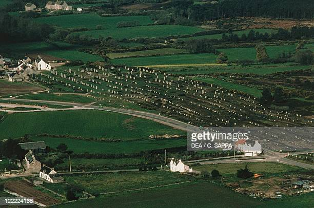 France Brittany Surroundings of Carnac Prehistoric megalithic stone alignments Menhirs aerial view