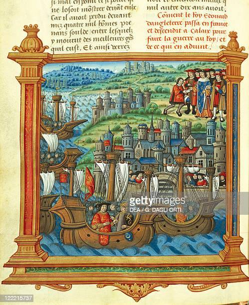 France Burgundian Wars King Edward IV of England landing at Calais miniature From Memoires by Philippe de Commynes