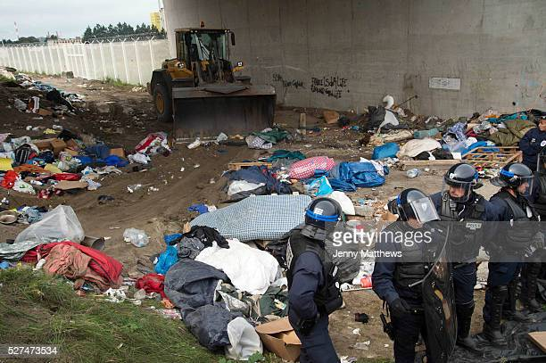 France Calais camp for refugees known as 'The Jungle' September 21st 2015 French police oversee the removal of the tents and belongings in them from...
