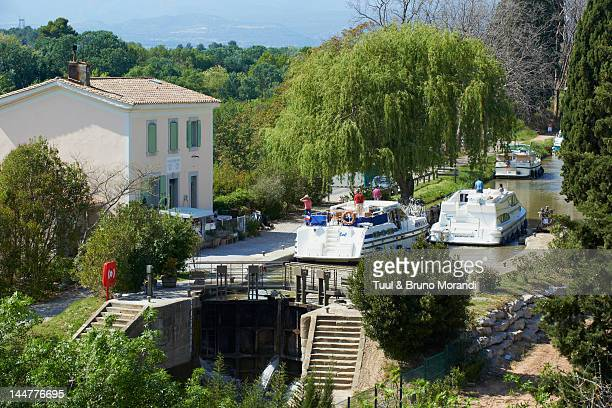 France, Canal du Midi, lock of Pechlaurier
