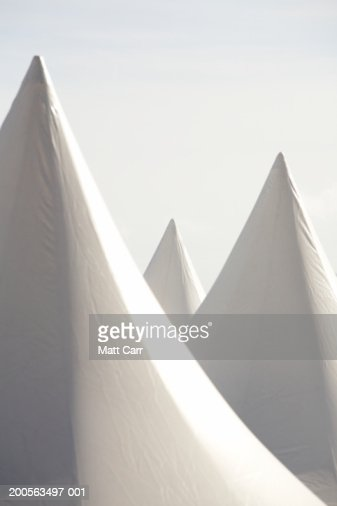 France, Cannes, High section of white tents on beach : Stock Photo
