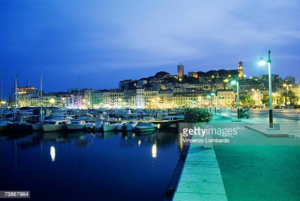 France, Cannes, Illuminated promenade at marina, dusk