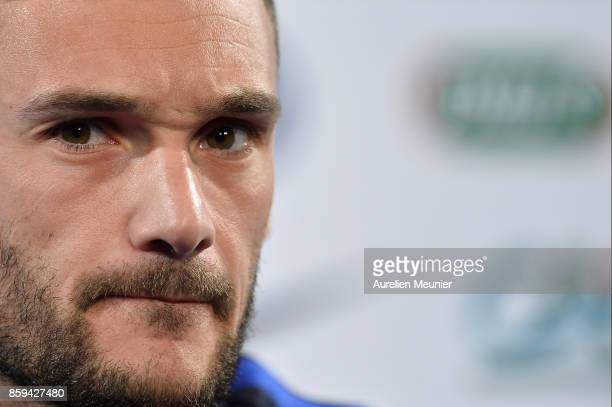 France Captain Hugo Lloris answers journalists during a press conference before a France training session ahead of the France v Belarus FIFA 2018...
