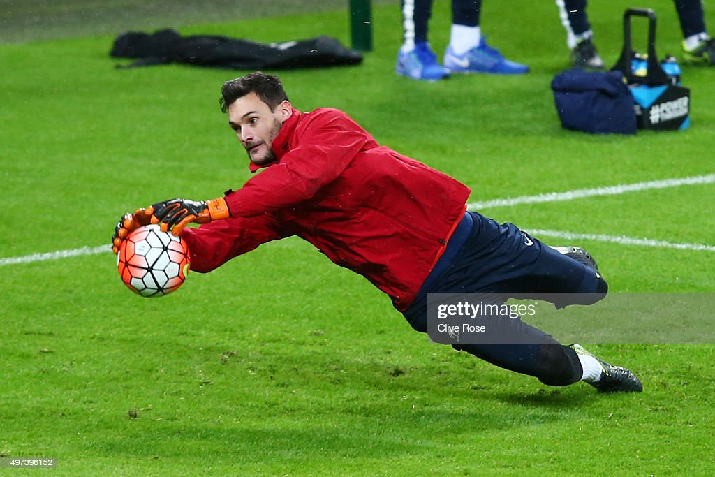 France captain Hugo Lloris warms up during the France training session at Wembley Stadium on November 16, 2015 in London, England.
