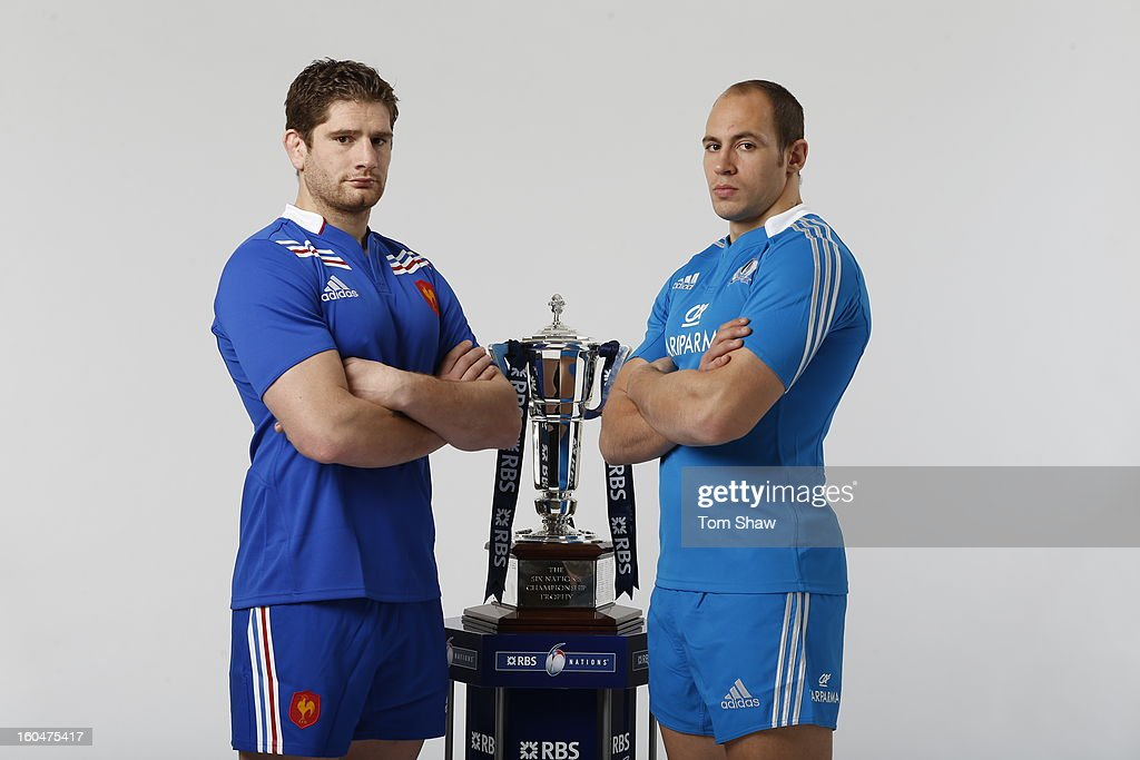 France Captain Pascal Pape (L) and Italy Captain Sergio Parisse pose with the Six Nations trophy during the RBS Six Nations launch at The Hurlingham Club on January 23, 2013 in London, England.