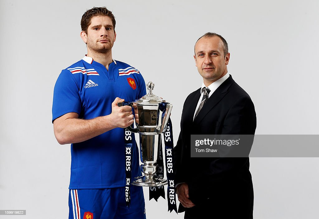 France captain Pascal Pape and Philippe Saint Andre the France head coach pose with the Six Nations trophy during the RBS Six Nations launch at The Hurlingham Club on January 23, 2013 in London, England.