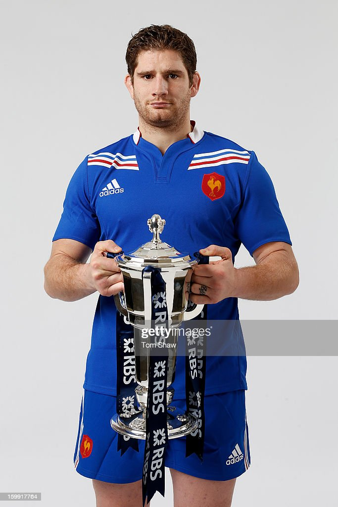 France captain Pascal Pape poses with the Six Nations trophy during the RBS Six Nations launch at The Hurlingham Club on January 23, 2013 in London, England.