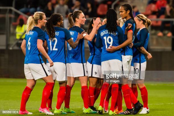 France celebrate a goalduring the friendly match between the women of Netherlands and France at the Galgenwaard Stadium on April 07 2017 in Utrecht...