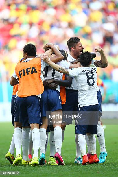 France celebrate after defeating Nigeria 20 during the 2014 FIFA World Cup Brazil Round of 16 match between France and Nigeria at Estadio Nacional on...