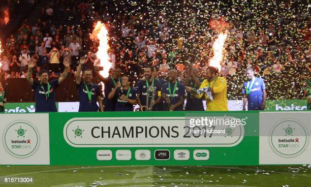 France celebrate after winning the Final Star Sixes match between France and Denmark at The O2 Arena on July 16 2017 in London England