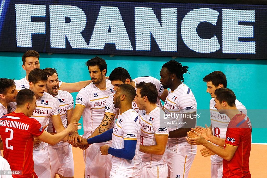 France celebrate at the end of the game during FIVB World League 2016 between France and Belgium on July 1, 2016 in Nancy, France.