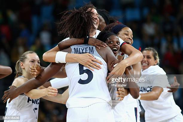 France celebrate on full time during the Women's Quarterfinal match between France and Canada at Carioca Arena 1 on August 16 2016 in Rio de Janeiro...