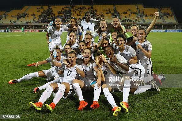France celebrate their win over Japan after the FIFA U20 Women's World Cup Papua New Guinea 2016 Semi Final match between Japan and France at Sir...