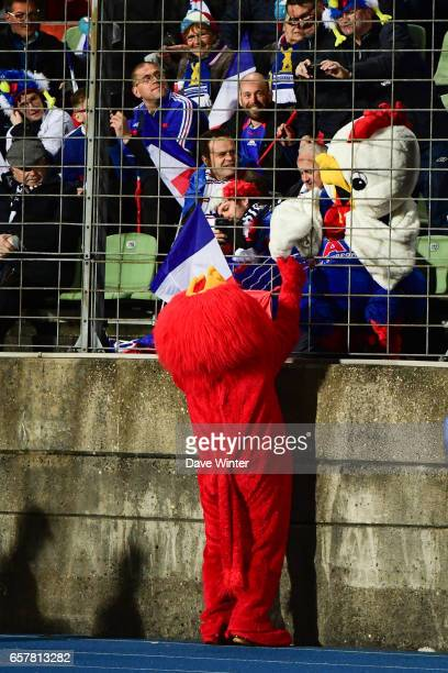 A France chicken meets a Luxembourg lion before the FIFA World Cup 2018 qualifying match between Luxembourg and France on March 25 2017 in Luxembourg...