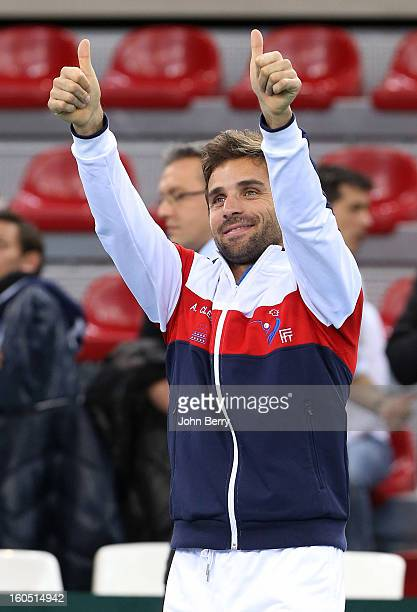 France coach Arnaud Clement celebrates Richard Gasquet's victory on day one of the Davis Cup first round match between France and Israel at the...