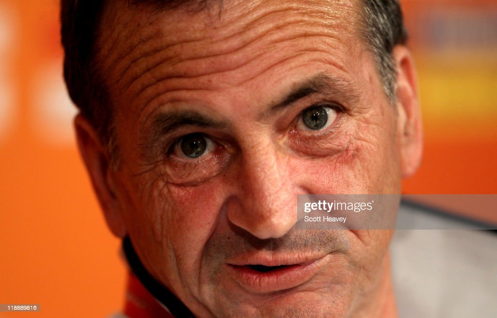 France Coach <a gi-track='captionPersonalityLinkClicked' href=/galleries/search?phrase=Bruno+Bini&family=editorial&specificpeople=2391630 ng-click='$event.stopPropagation()'>Bruno Bini</a> during a France Press Conference at Borussia Park Stadium on July 12, 2011 in Moenchengladbach, Germany.