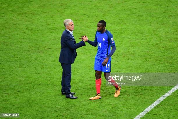 France coach Didier Deschamps and Blaise Matuidi of France after the Fifa 2018 World Cup qualifying match between France and Belarus on October 10...