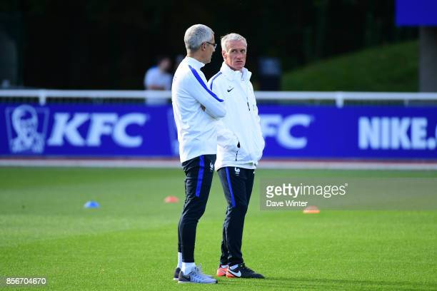France coach Didier Deschamps and France team doctor Franck Le Gall during the training session at Centre National du Football on October 2 2017 in...